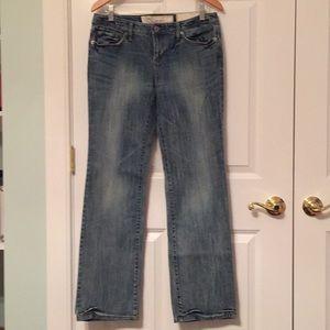 Acid wash slim boot cut stretch jeans